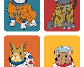 Space Pets Illustration Print