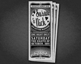 Printable Wedding Theater Ticket Invitation - Ticket Style Wedding Invitation - Vintage Birthday Ticket Invite - Retro Party Ticket Invite