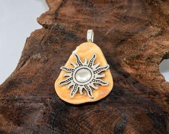 Sunburst Sea Shell Pendant - Yellow Sea Shell Pendant  Ocean Necklace   Real Seashell Necklace   Ocean Inspired   Sea Creature Necklace