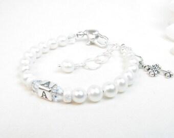 Christening or Baptism Bracelet - Baby Girl Bracelet - Personalized Infant Baby Bracelet - Girl First Communion or Confirmation Gift