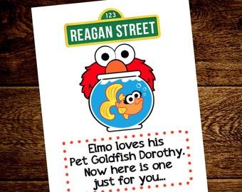 Sesame Street favors.  Sesame Street favor ideas.  Sesame Street birthday.  Sesame Street birthday decor. Goldfish favors.Elmo Dorothy favor
