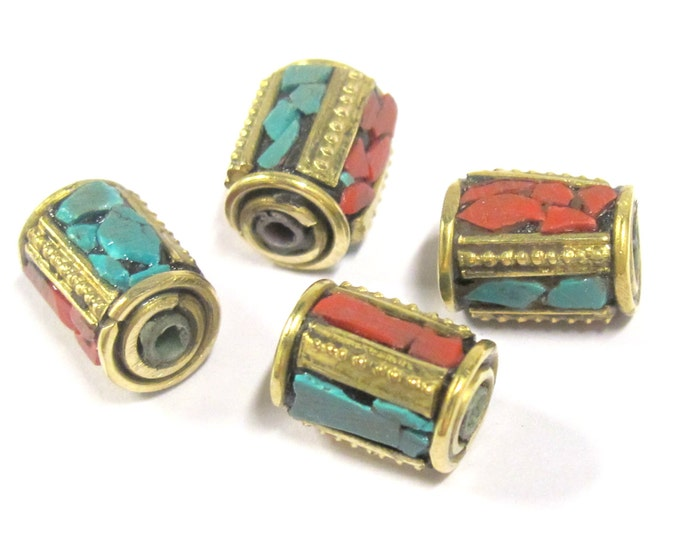 4 Beads - Tibetan brass beads with turquoise coral inlay from Nepal  - BD798