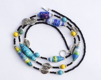 Blue and Yellow Paper Bead Necklace