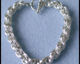 Double Spiral Chain Maille Bracelet in 18 gauge Non Tarnish Silver Plate wire with toggle clasp closure