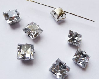 10 pcs of  8mm Faceted Square Sew On Crystal Clear Rhinestones W/Metal Prong....Nickel Free..Rhodium Plated Over Brass