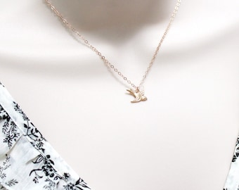 Flying Bird Necklace ~ Dainty Swallow Sparrow Necklace ~ Soaring Dove Bird ~ Small Charm Necklace ~ Gold Fill or Rose Gold Fill ~ Women Gift