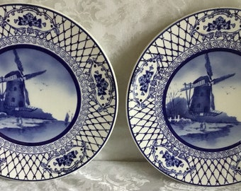 """Pair of 11"""" Delft Blue Style Windmill Plates"""