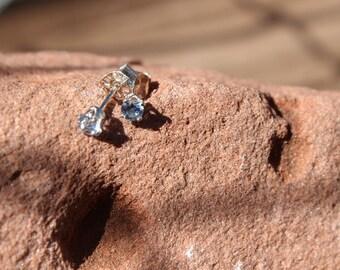 March Birthstone Gift, 3mm Aquamarine Stud Earrings, Sterling Silver, Round Cut Gemstone, March Birthday Gift