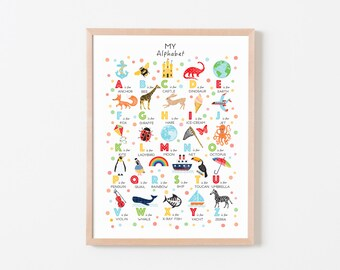 Alphabet Poster, Alphabet Print, Nursery Decor, ABC Print, Nursery Wall Art, Kids Wall Art, New Baby Gift, Can Be Personalised