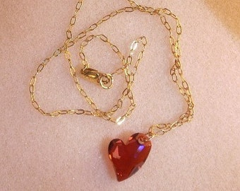 Devoted To You Swarovski Crystal Heart and Gold Necklace
