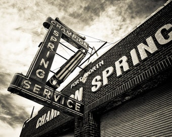 Fort Worth, Texas, Neon Sign, Metal Sign, Building, Architecture - Champion Spring Service  Angled Sepia