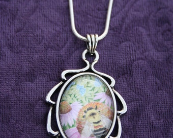 """Bumble Bee Original Art Pendant Necklace with Chain. Flowers. Watercolor by Victoria Chapman, """"Pollinate: Rusty Patch Bumble Bee"""""""