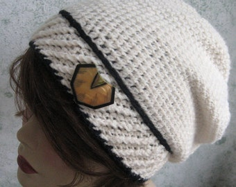 Instant Download Womens Crochet Slouch Hat Pattern With Contrasting Band Trim Very Easy To Make