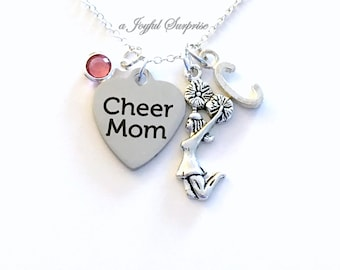 Cheer Mom Necklace Personalized, Gift for Cheerleader Mother Day Present, Cheerleading Jewelry Team Initial Birthstone, letter custom her