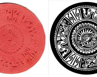Aztec Warrior Circle Stamp Tool Design for Polymer Clay, PMC, Ceramic Clay, Scrapbooking - Mayan Design Stamp for PMC Clay Stamp Tool