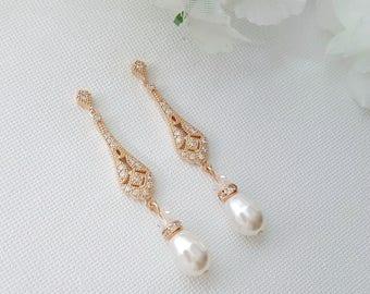 Art Deco Bridal Earrings Vintage Style Wedding Earrings Rose Gold Earrings Bridal Jewelry Long Pearl Earrings Crystal Bridal Earrings, Lisa