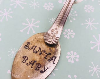 Spoon Christmas ornaments... Silverware ornament... spoon ornament... Santa Baby bent spoon ornament... Christmas Ornament