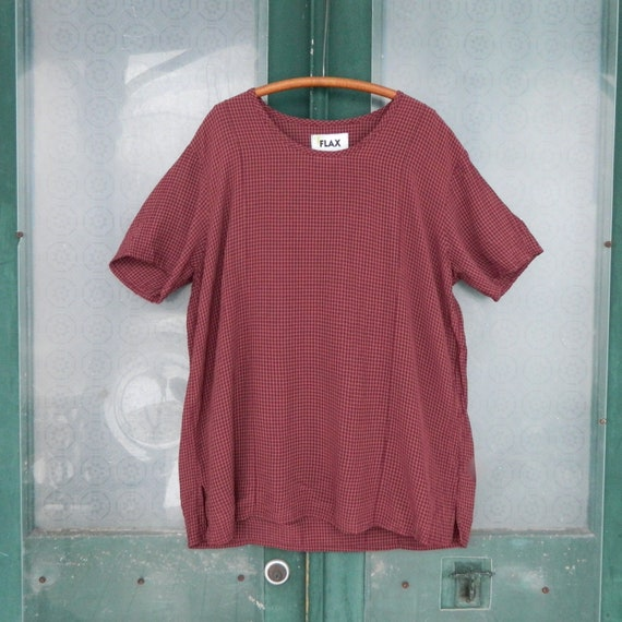 FLAX Engelhart Short-Sleeve Tee from Temperate 2003 -S Berry Grid Crepe