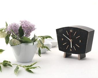 Black Clock Table, Wood Desk Clock, Unique home decor gift ideas, Wooden Distressed Mantel clock, Chistmas gift decor, Winter sale