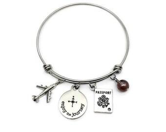 Travel Charm Bracelet, Travel Gift, Wanderlust gift, Travel Jewelry, Wanderlust Bracelet, Wanderlust Jewelry, Adventure Bracelet