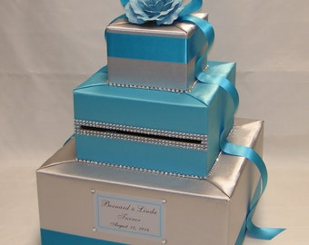 Silver and Turquoise Card Box -Rhinestone accents