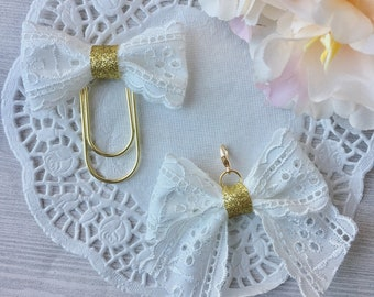 White lace bow clip or bow charm