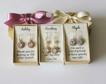 Bridesmaids earrings, Rose gold drop earrings, Cubic Zirconia Crystal Bridal earrings, Bridal gold earrings, Bridesmaid gifts,  CZ earrings