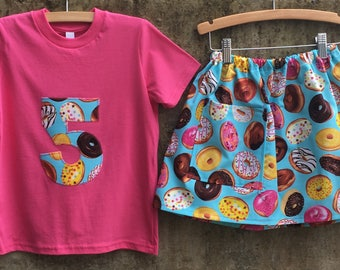 Girls Donut Print Birthday Outfit for Baby, Toddler, Kid - Cotton Pocket Skirt with Number Shirt - Fun Child's Clothing Set - Blue or Black