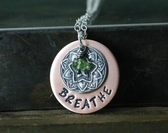 Breathe Necklace, Yoga Jewelry, Om, Aum, Ohm, Mandala