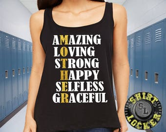 Mom Shirt Amazing Loving Strong Happy Selfless Graceful Glitter Design Relaxed Womens Bella+Canvas Tank top Mother's Day Birthday Gift