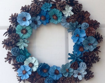 Shades of Blue and Brown pine cone wreath