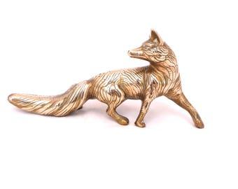 Vintage Brass Fox Figurine, Gold Fox, Metal Fox, Fox Statue, Mid Century Brass Fox Ornament, Antique Brass Vixen, Brass Fox Figurine