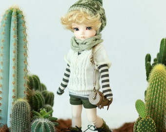 Miss yo V Neckline Short-sleeves Sweater for YoSD 1/6 BJD - doll outfit / cloth - White