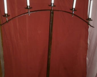 Very large candle stand, candelabra, 5-burner candle holder forged from solid iron.