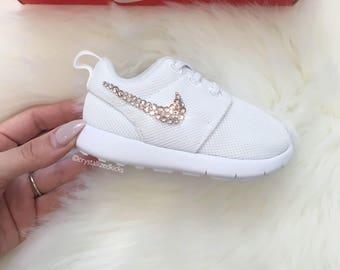 Girls TODDLER Nike Roshe Made with SWAROVSKI® Crystals - White/White