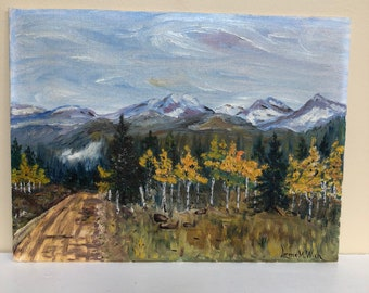 Vintage Oil Painting Colorado / signed Lorene M Wich / landscape Aspen trees / 9 x 12 inches