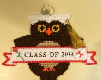 Graduation Gift Owl Graduation Car Suction Cup Window Decoration Any Year or Color Tassel Needlepoint