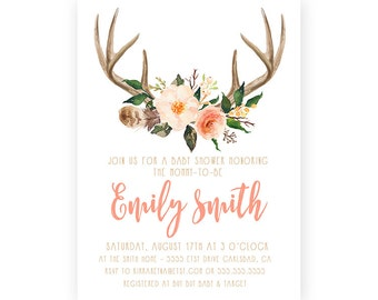 Antler Baby Shower Invitation Girl, Unique, Boho, Rustic, Woodland Invite (585)