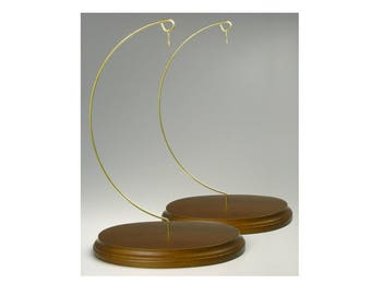 Wood Ornament Stands Holder Solid Walnut Base - Pack of 2 #1357-9