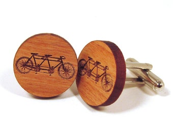 Tandem Bicycle Wooden Cuff Links