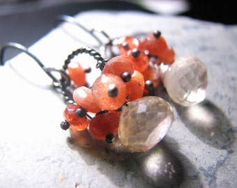 Champagne Citrine Sunstone November Birthstone Wire Wrapped Cluster Earrings