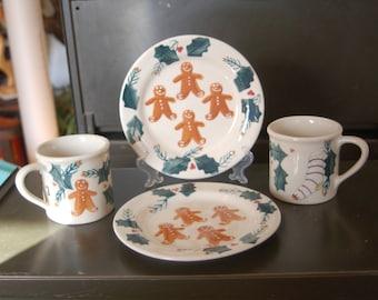 Christmas Morning Set 4 Piece Gingerbread Men Plates \u0026 Mugs Hartstone Pottery ~ Pair Gingerbread Men & Hartstone coffee mug | Etsy