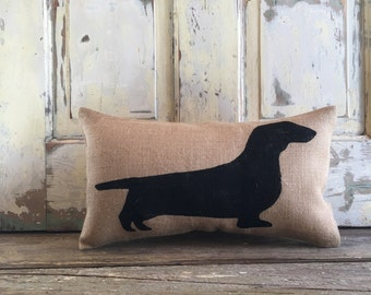 Pillow Cover | Dachshund Pillow | Wiener Dog Pillow | Burlap pillow | Dachshund | Gift for Him | Gift for Mom | Gift for Dad | Dog lovers