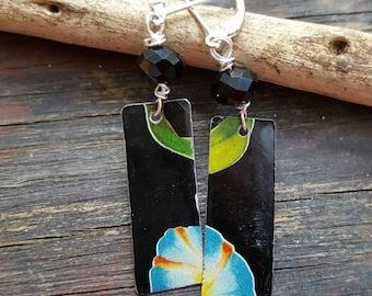 Cookie tin earrings, 10th anniversary gift, recycled tin earrings, repurposed earrings, funky earrings, ooak jewelry, anniversary gift