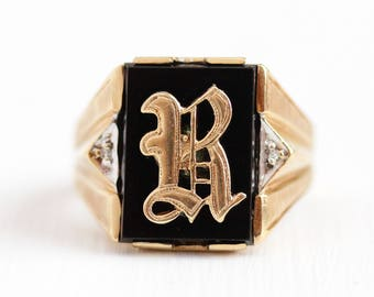 Onyx Signet Ring - Monogrammed R 10k Rosy Yellow Gold Diamond Initial Band - Size 8 1/2 Black Gemstone Letter Men's 1940s Fine Jewelry