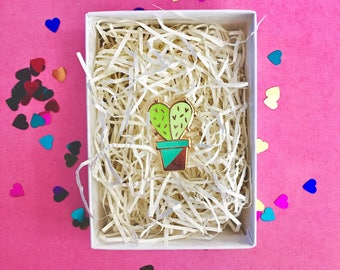 Heart cactus plant hard enamel lapel pin-brooch-hat pin