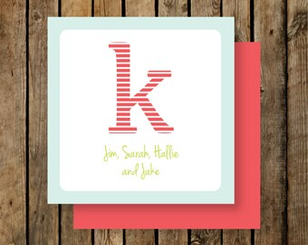 Personalized Calling Cards / Gift Tags / Striped Initial
