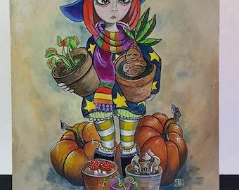 Original Painting Witch Mandrake Venus Flytrap Poisonous Gardener Pumpkin Halloween Folk Art 9 x 12