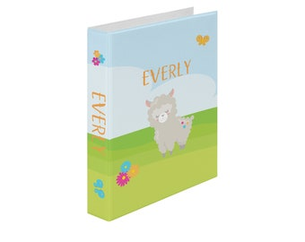 Llama Personalized Binder - Llama Party Sky Grass Flowers Butterflies, Customized Pocket Binder 3 Ring Binder 2 Inch Spine Back to School