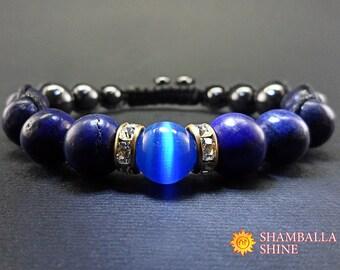 Lapis lazuli bracelet Blue gemstone bracelet Blue Lapis Bracelet Blue and gold bracelet Healing Gemstone Genuine Gemstone Chakra bracelet